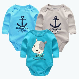 3 Pcs/lot Summer Children clothing Newborn Cotton long sleeve Baby Bodysuits white baby Jumpsuit baby boy girl clothes-eosegal