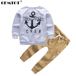 GEMTOT 2018 New Boys Clothes Suit Fashion T-shirt + Pants 2 Pcs/set Long Sleeves Fall Letters Navy Children's Clothing k1-eosegal