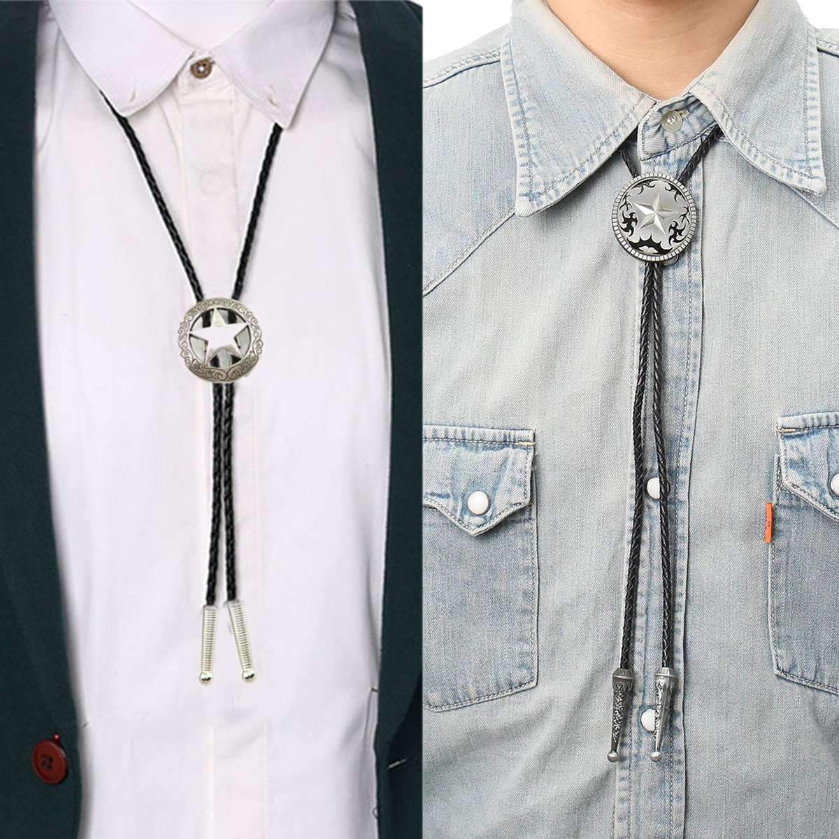 Unisex Cowboy Star Bolo Tie, Men Women Vintage Casual Neckties, Rodeo Blackeosegal-eosegal