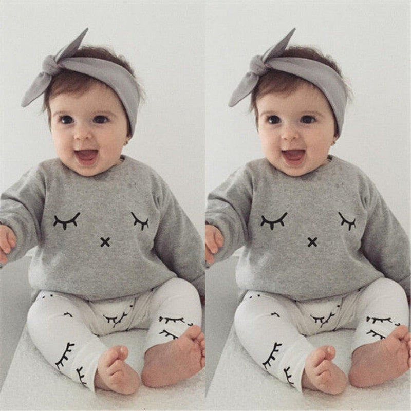 Baby Boy Eyelash Clothes Fall 2017 Bebes Kids Newborn Casual Long Sleeve T-shirt Tops+Long Pants Outfits Baby Girl Clothing Sets-eosegal