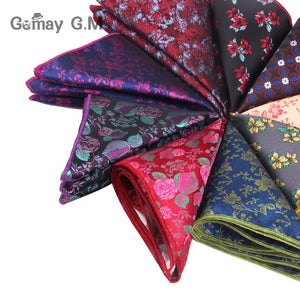 Men Handkerchief Floral Jacquard Pocket Square For Gift Wedding Vintage Hankies foreosegal-eosegal
