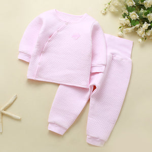 Winter Baby Outfits Baby Girl Clothes Set Warm Long Sleeve Boy Newborn Clothes High Waist PP Pants Sets Snow Sleepwear Pajamas-eosegal