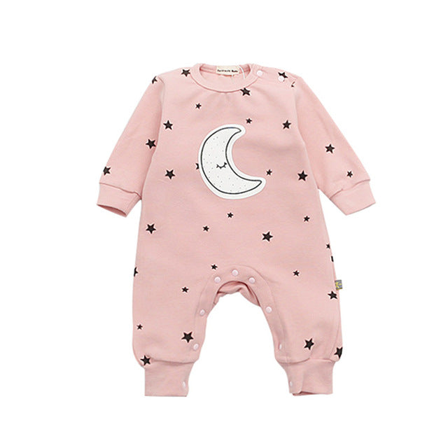 2018 New Baby Rompers Children Spring Autumn Baby Boy Girl Jumpsuit Star And Moon Smiling Long Sleeve Newborn Infant Clothing-eosegal