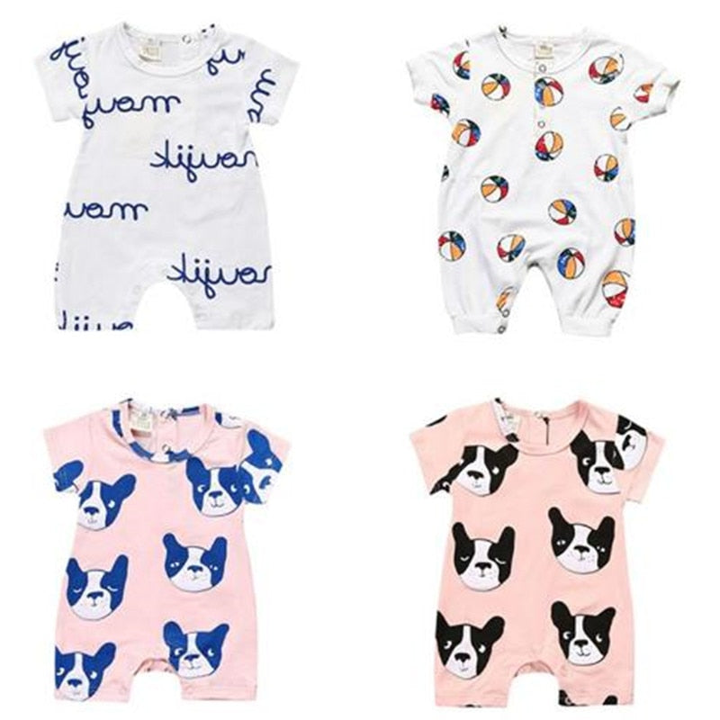 Summer New Tiny Cottons Bobo Choses White Pink Dog Letter Printing Baby Boys Girls Rompers Jumpsuit Baby Clothes Vestidos-eosegal