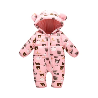 Lovinbecia Newborn Baby girls Rompers Winter Thick Warm toddler Hooded Jumpsuit Kids Outwear boys feathers cotton Clothing suit-eosegal