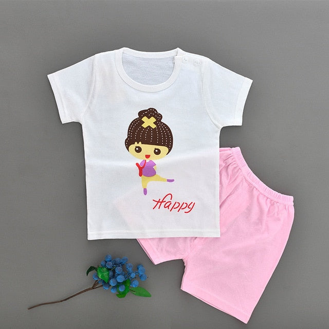 New Baby Boy Summer Mickey Clothes Infant Newborn Boy Girl Clothing Set Sports Tshirt+ Shorts Suits-eosegal