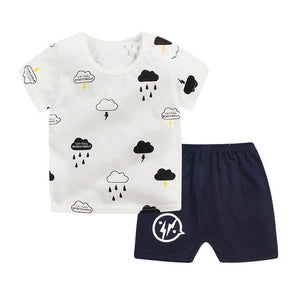 Baby Clothes Set t-shirt+short Pant 2 pcs Set Summer Newborn Boy Girl Clothes Cartoon Cotton Baby Suit (Shirt+Pants) 0-24M-eosegal