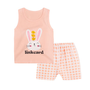 Luna Blanco Baby children's cotton vest suit summer sleeveless suit for boys girls baby's sets baby cute o-neck cartoon suit-eosegal