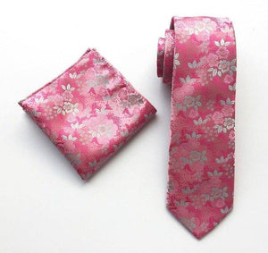 Designer's Men Luxury Floral Necktie Set Embroidered Pink Flowers Ties Sets witheosegal-eosegal