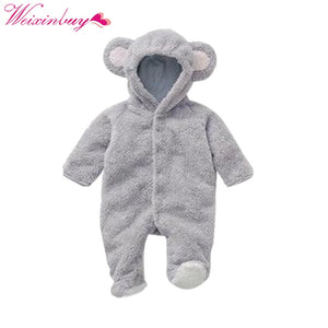 Baby Rompers Spring Baby Clothes Flannel Baby Boy Clothes Cartoon Animal 3D Bear Ear Romper Jumpsuit Warm Newborn Infant Romper-eosegal