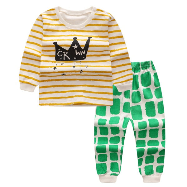 Spring Autumn baby boy clothes sets cartoon Tracksuit casual kids suits infant girl baby clothing set 2pcs T shirt+pants-eosegal