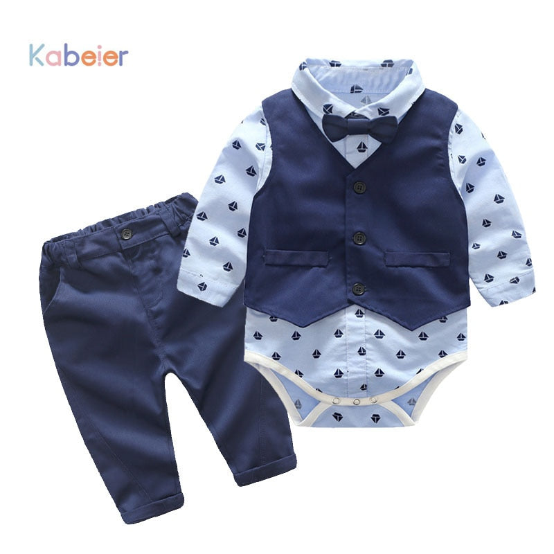Baby Boys Party Clothes Suits Infant Newborn Sets Dress Kids Vest+Romper+Pants 3PCS Autumn Spring Children Suits Outfit 3-24M-eosegal