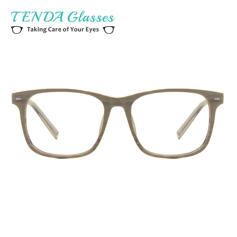 Men Acetate Wooden Texture Prescription Glasses Square Bamboo Spectacles For Optical Lenseseosegal-eosegal