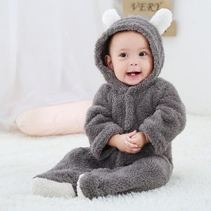 Spring Autumn Baby Clothes Flannel Baby Boy Clothes Cartoon Animal 3D Bear Ear Romper Jumpsuit Warm Newborn Infant Romper-eosegal