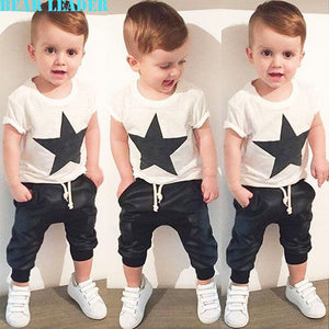 Bear Leader Baby Clothing Sets 2018 Summer Style Baby Girls Boys Clothes Black Letter T-shirt+Imitation cowboy pants 2pcs suit-eosegal