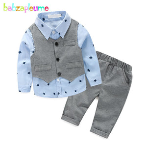 3PCS/0-2Years/Spring Autumn Baby Boys Clothes Gentleman Suit Vest+T-shirt+Pants Newborn Clothing Set 1st Birthday Outfits BC1169-eosegal