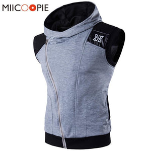 Brand Clothing Men Hoodies Sleeveless Vest Male Hooded Hoodie Sweatshirt Leather Patchworkeosegal-eosegal