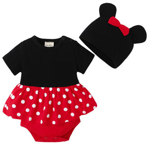 2018 New lovely Bodysuits For Baby boys Girls short Sleeve Body Infant Bebe Minnie Micky hat 2pcs/sets Brand Clothing-eosegal