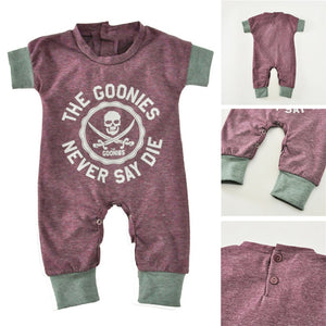 2018 Newborn Baby Jumpsuits Summer Cartoon Skull Boys Girls Romper For Infant One-piece New Short Sleeve Letter Kids Baby Romper-eosegal