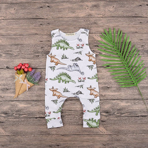 2018 Jumpsuit Summer Tiny Cottons Dinosaur Party White Sleeveless Unisex Rompers Baby Girl Toddler Kid Newborn Girls Boys 3-18M-eosegal