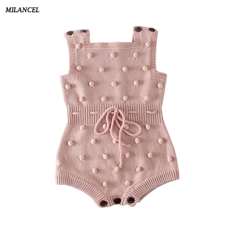 MILANCEL 2018 Baby Bodysuits Autumn New Baby Boys Clothes Handmade Prom Toddler Girls Bodysuits Knit Bodysuits for Baby Girls-eosegal