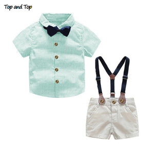 Summer Newborn Baby Sets Infant Clothing Gentleman Suit Striped Shirt+Bow Tie+Suspender Trousers-eosegal