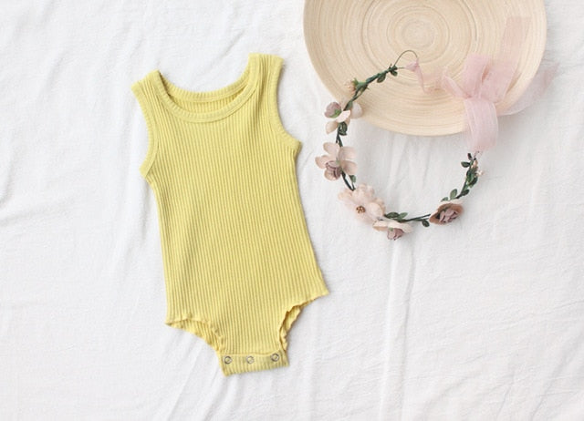 MYUDI - 2018 Summer Sleeveless Baby Tank Bodysuits Rib Cotton Boy Girl Sleeveless Jumpsuits Infant One-pieces Clothing-eosegal
