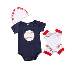 3Pcs New Casual Newborn Baby Boys Girl Rugby Short Sleeve Tops Romper Leggings Hat Outfits Clothes-eosegal
