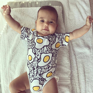 Eggs Print Short Sleeve Bodysuit Baby Boys Girls Jumpsuit Baby Clothing VestidosSummer Bobo Choses Tiny Cottons-eosegal