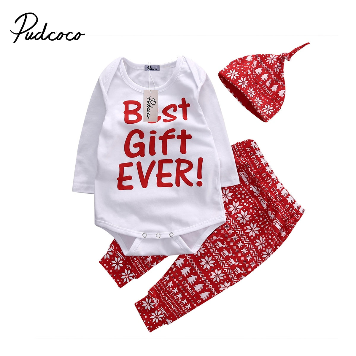 2018 Christmas Snowflake Baby Kids Girls Boys Xmas Long Sleeve Bodysuit Top+Pant+Hat NewYear Clothes Set 0-18M-eosegal
