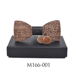 New Fashion Accessories Plaids Womens Mens Bowknot Bowtie Classic Carved Print Woodeosegal-eosegal