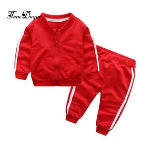 Tem Doger Baby Boys Girls Clothing Sets Autumn Infant Cotton Sports Suits Zipper Jackets+Pants 2PCS Newborn Boy Bebes Tracksuit-eosegal
