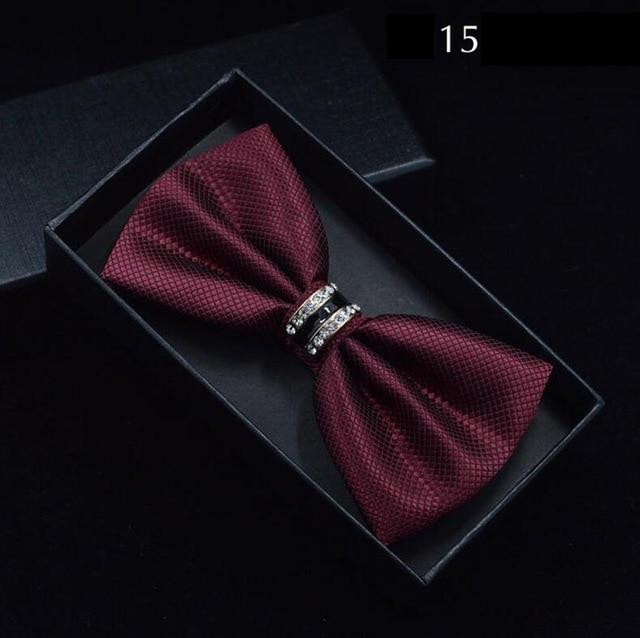Solid Plaid Bow Tie Metal Crystal Bowtie Red Black Blue Whiteeosegal-eosegal