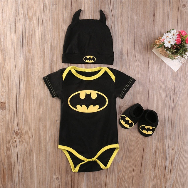 Baby Boy Clothes Set Cool Batman Newborn Infant Baby Boy Romper+Shoes+Hat 3pcs 2018 New Arrival Fashion Outfits Set Clothes 0-2Y-eosegal