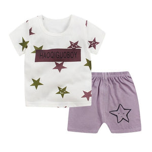 Luna Blanco Summer Short sleeve baby printed cartoon casualset baby girl and boy o-neck Baby's Sets 3-18 month Cotton Suits-eosegal