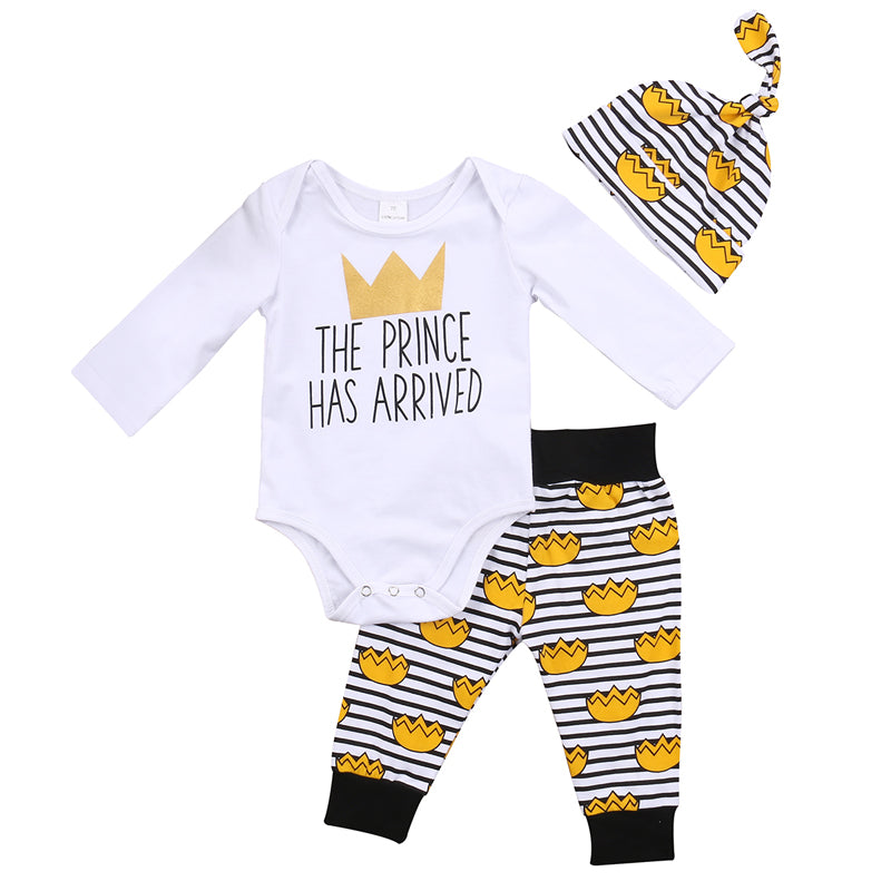 Cute Newborn Infant Baby Boys Prince Letter Clothes Romper Playsuit Pants Outfits Set-eosegal