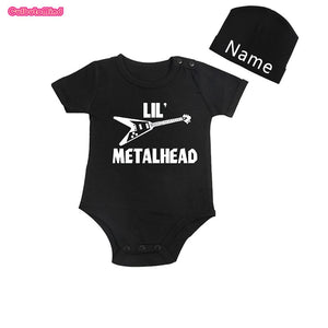 Culbutomind Lil' Metal Head Short Sleeve One Piece Baby Body Suit with Customized Name Cap for NB-12Months Baby Summer Boy Girl-eosegal