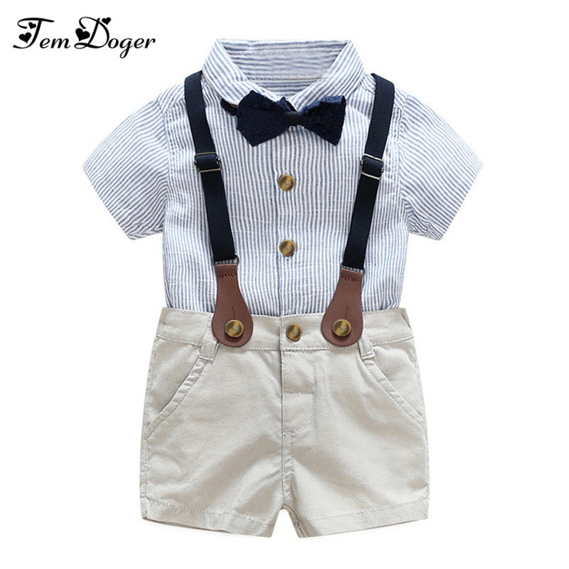 baby boy gentlemen 3pcs outfits sets 2017 summer newborn baby boy clothing sets tie shirt+overall infant clothes for party wear-eosegal