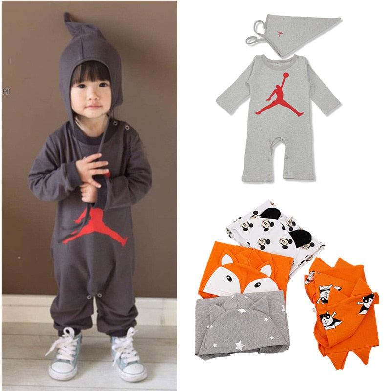 Clearance Sale Baby Boys Clothes Long Sleeve Cartoon Fox Dog Stars Printed Slam Dunk Baby Girl Romper Toddler Hoodies Sweatshirt-eosegal