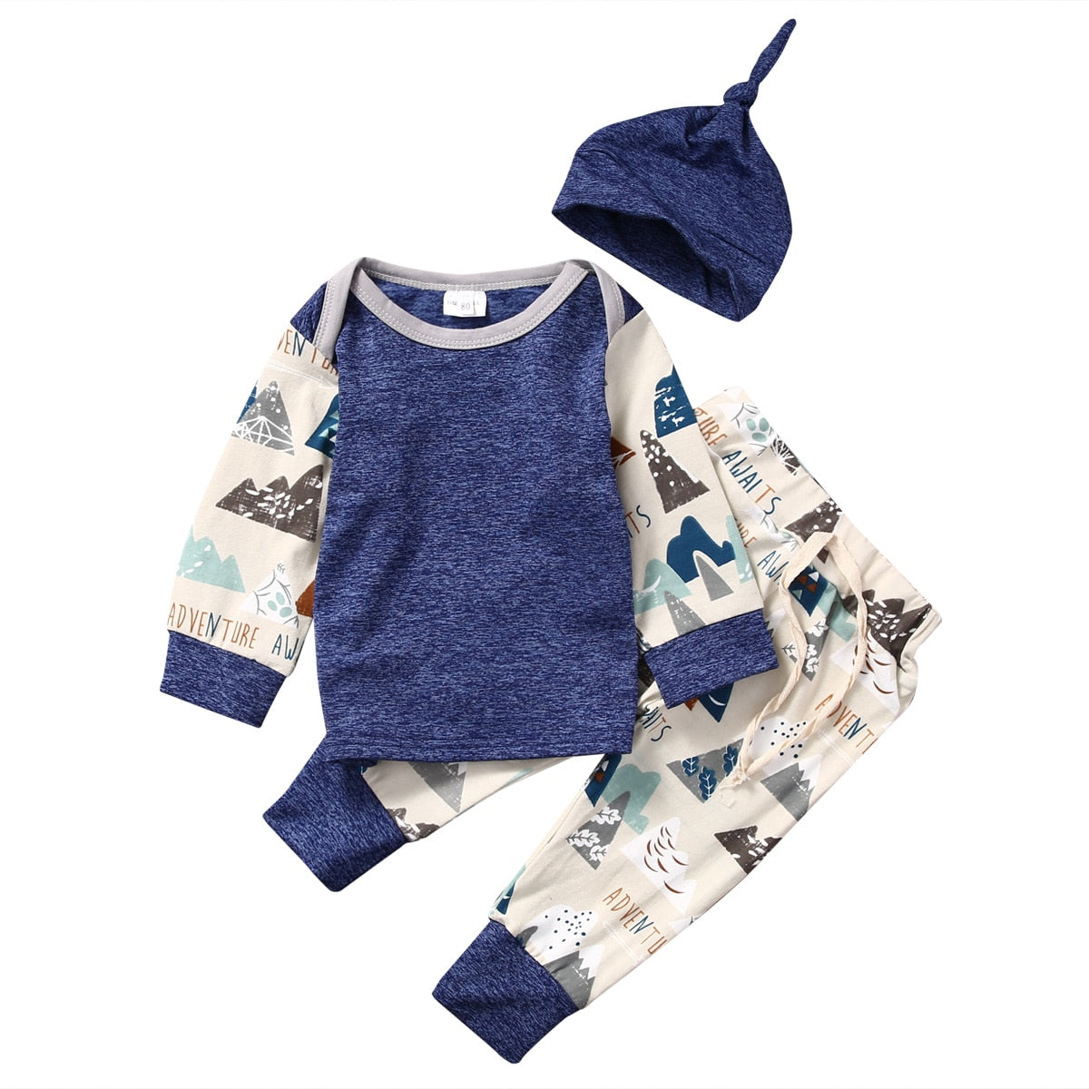 3pcs/Set baby Boys Clothing Set Cute Newborn Baby Boys Long Sleeve T-shirt Top+Long Pants Hat Outfit Clothes Set-eosegal