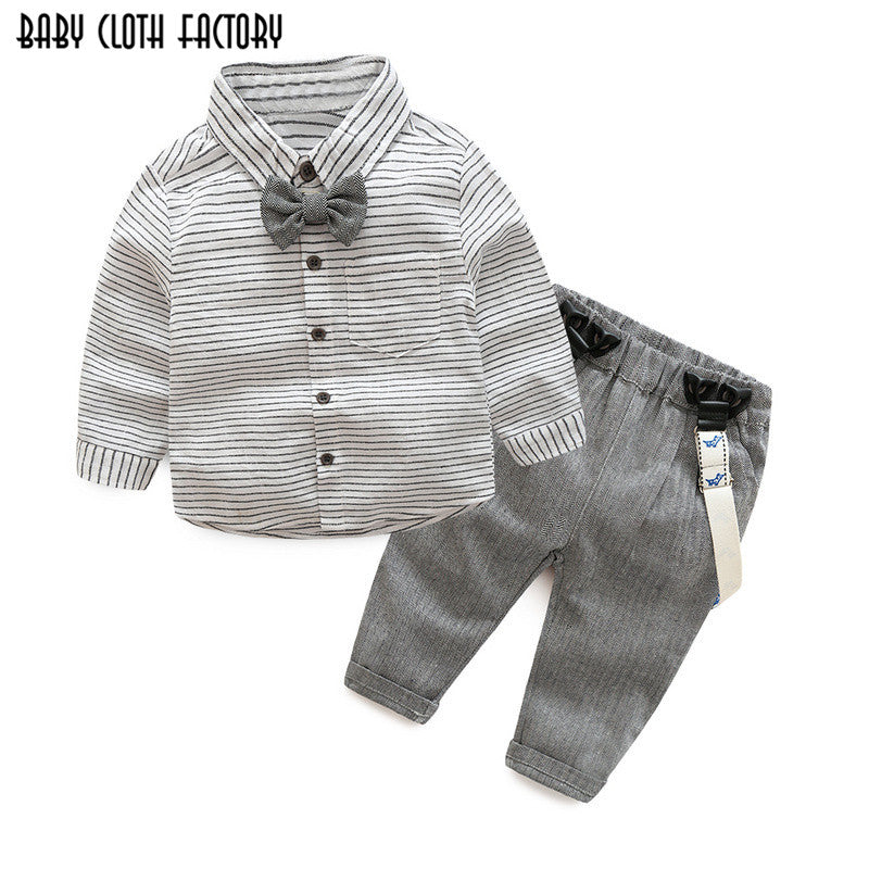 Tem Doger 2018 New Baby Boys Autumn Casual Clothing Set Baby Kids Gentleman Bow Clothing Sets Shirt+overalls 2-Piece Suit Set-eosegal