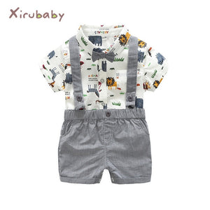 Tem Doger Baby Boy Clothing Set Newborn Baby Boys Gentleman Clothes Infant Long Sleeve Shirt+Overalls 2PCS Bebes Outfits Set-eosegal