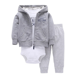 Fashion Style 3pcs(Long-sleeved Striped Hooded Pockets Zipper Coat+Solid Red Romper+Pants)Baby Boy 2018 New Character Clothes-eosegal