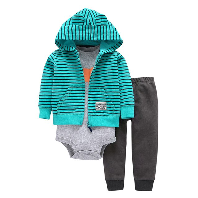 2018 Autumn Spring children suits bebes baby boys clothes set hooded jacket+stripe romper+pants newborn boy girl clothing-eosegal
