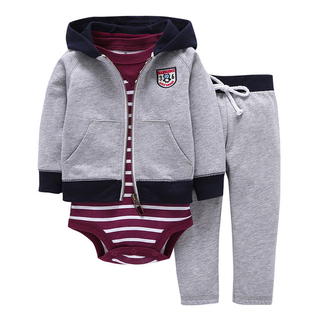 hooded zipper coat + pants + romper fashion cotton 2018 Baby Boy girl Clothes set children boys cute Clothing free shipping-eosegal