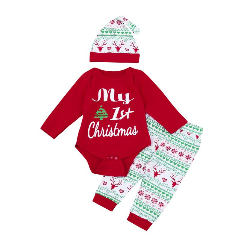 3Pcs Christmas Baby Boy Clothes Letter Baby Girl clothing My First Christmas Girls Newborn Outfits Set Romper+Pants+Hat L1130-eosegal