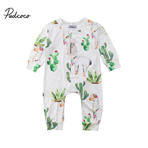 2018 Brand New Toddler Infant Newborn Cactus Kids Baby Boy Girls Alpaca Romper Cactus Jumpsuit Pants Long Sleeve Clothes Outfits-eosegal