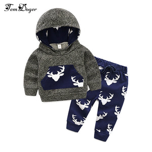 Tem Doge Baby Boys Autumn Winter Clothes Sets Infant Long Sleeve Thicken Hooded Sweatshirt+Pants 2PCS Cute Suit Newborn Clothing-eosegal