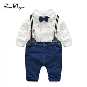Tem Doger Newborn Boy Clothes Autumn Baby Boy Clothing Set Tie Rompers+Overalls 2PCS Outfits Set Infant Boy Gentleman Clothiing-eosegal