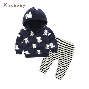 Tem Doge Autumn Winter Baby Boy Clothing Set Newborn Girls Underwear Suit Infant Knitted Zipper Coat+Pants 2PCS Outfits Clothes-eosegal